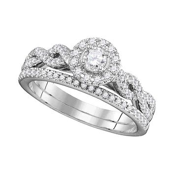 14kt White Gold Women's Round Diamond Halo Twist Bridal Wedding Ring Set 1/2 Cttw - FREE Shipping (US/CAN)