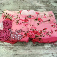 Dip dyed floral shorts, rose embellished, country chic clothing, ucycled, shabby cottage, womens clothing, autumn pink, rustic farmgirl