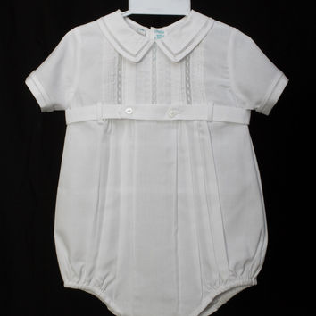 Baby Boy Lace and Pintuck Romper