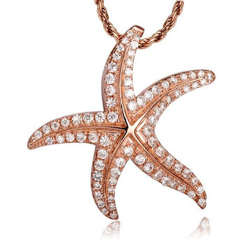 ROSE GOLD STERLING SILVER 925 BLING CZ HAWAIIAN STARFISH SLIDE PENDANT 24MM