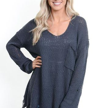Charcoal Distressed Pocket Sweater