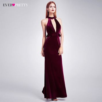 2018 New Year Sexy Velvet Long Evening Dresses Ever Pretty EP07180 Halter V Neck Velour Christmas Evening Dresses Ruffles Gowns