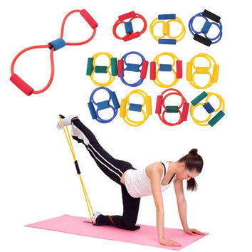 Resistance Band Yoga Pilates Abs Exercise Stretch Fitness Tube Workout Bands(Color:Random) (Color: Multicolor) = 1933084484