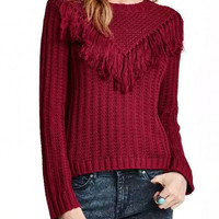 Burgundy Fringed Knitted Jumper