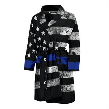 Thin Blue Line Bathrobe Mens