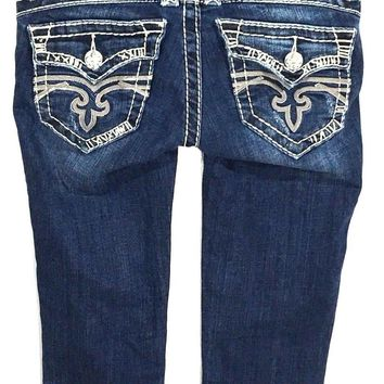 Rock Revival Jeans Morgan Capris Cuffed Thick Distressed Flap Pockets Womens 24 - Preowned