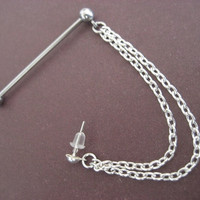 Industrial Cuff And Chain Barbell Piercing 14g 14 by Azeetadesigns