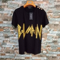 """Balmain"" Unisex Fashion Personality Lightning Bronzing Letter T-shirt Couple Short Sleeve Casual Top Tee"