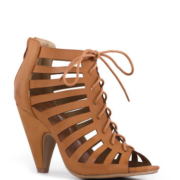 Brittania Lace Up Heels - Tan
