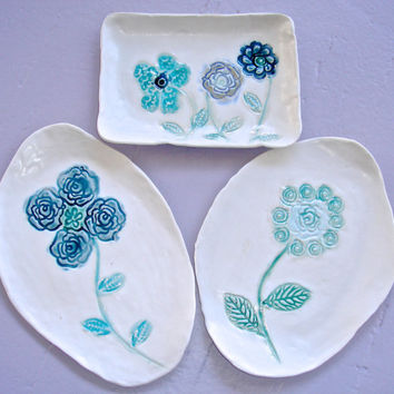 Ceramic Serving Plate, hand painted flower dish for snacks, tapas, appetizers, spoonrests, soap dish