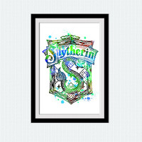 Slytherin crest watercolor print Slytherin colorful poster Harry Potter watercolor print Home decoration art Gift for kids room  W150