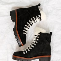 JEFFREY CAMPBELL | Culvert Boot - Black Suede + Ivory