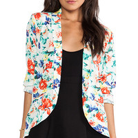 MINKPINK Flower Crush Blazer in White
