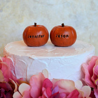 Wedding cake topper...custom name pumpkins...fall and autumn decor