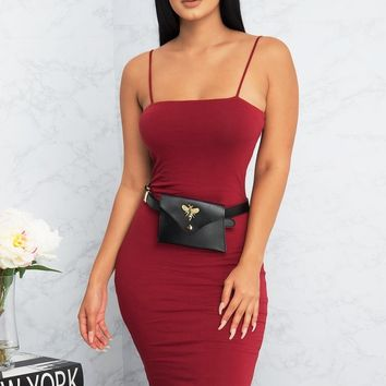 Yvonne Mini Dress - Burgundy