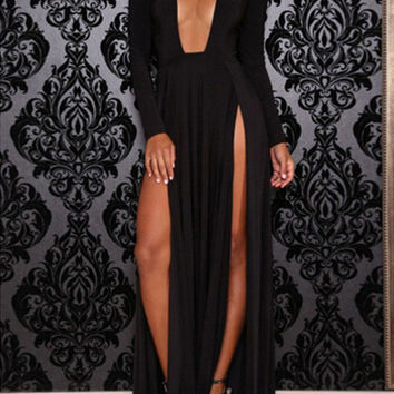 Black Deep V Neck Cutout Slit Long Sleeve Maxi Dress