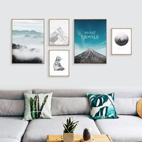 1pcs canvas prints Nordic Art Blue Sea Cuadros Decoracion Painting Posters Wall Pictures(no frame no stretch)