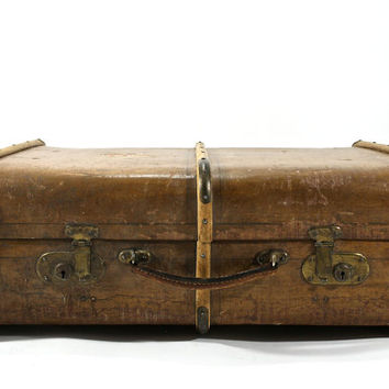 Vintage Large Wood Suitcase / Vintage Steamer Trunk Suitcase
