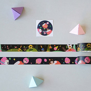 Black Colorful Washi Tape Set, Set of 2 Tapes, Washi Tapes, Masking Tape, Planner Tape, Deco Tape