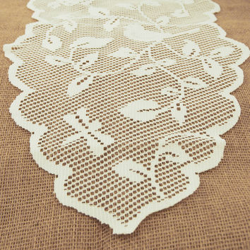 Birds in Tree Branch Lace Table Runner, 13-inch, 8-feet, Ivory
