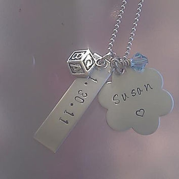 Personalized New Baby Necklace with birthstone charm and charm of choice - hand stamped stainless steel