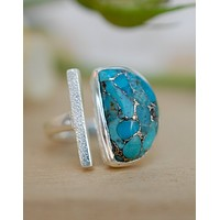 Laura Ring Sterling Silver - Copper Turquoise (BJR110)