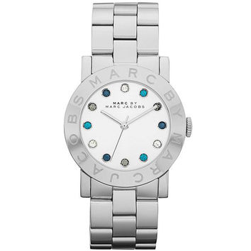 Marc by Marc Jacobs MBM3146 Women's Mini Amy Quartz Crystal Accents White Dial Stainless Steel Bracelet Watch
