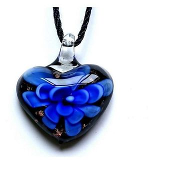 Heart Lampwork Murano Glass Pendant Necklace