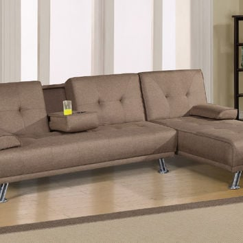 Poundex F6815-16 2 pc alisian light coffee linen like fabric folding sofa and reversible chaise futon sectional set