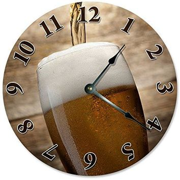 "Large 10.5"" Wall Clock Decorative Round Wall Clock Home Decor Novelty BEER GLASS CLOCK"