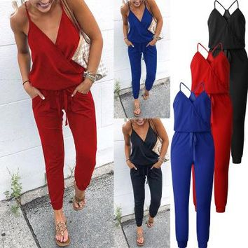 Wontive New Arrived!!  Summer Cross V-neck Lace-up Sexy Halter Jumpsuit