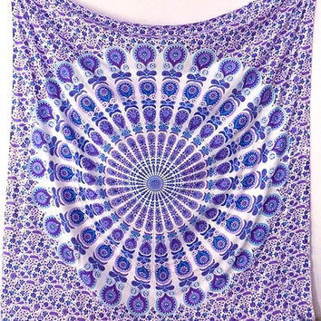 Large Cotton Blue White Mandala Fabric Hippie Bohemian Wall Hanging Wall Tapestry Bedspread Boho Bedding Throw Home Decor Art Ethnic