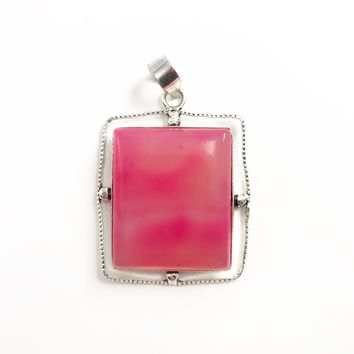 Pink Agate Sterling Silver Pendant
