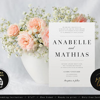 PDF Wedding Invitation, PDF Wedding Invite Template Download, Printable Editable Wedding Invitation, Editable pdf Invitation, DIY (Anabelle)