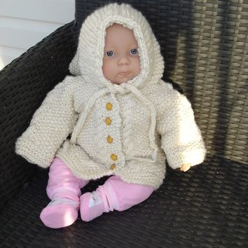 Made to order/ Softest handspun baby cardigan/ merino aran with the cutest Hooded Jacket /SIZES newborn to 4 year old