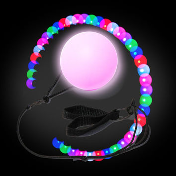 1 Pair (2) LED Poi Ball w Finger Straps Perfect for Burning Man, EDM, Festivals, Raves, Poi Dancing, Safe Awesome Alternative to Fire.