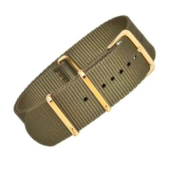 22mm Green Nylon NATO - Gold Buckle
