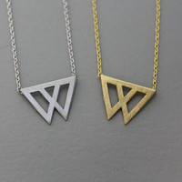 Double Triple necklace, Triangle necklace, Chevron , Tirade  necklace Pendant Necklace  -  Available color as listed ( Gold, Silver )