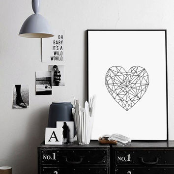 Abstract Heart Inspirational Print Poster Abstract Wall Art Modern Poster Printable Art Home Decor Wall Art Black and White Modern Decor aRT