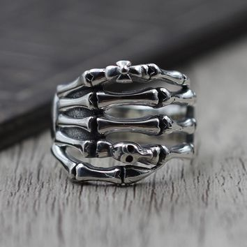 Thai Silver Personality Skeleton Finger Ring Retro Ring men's S925 Sterling Silver Jewelry