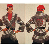 Crochet CARDIGAN Pattern Vintage 70s Circle Wrap Cardigan Top-Boho Bohemian Clothing Crochet Jacket Pattern Crochet Sweater Pattern