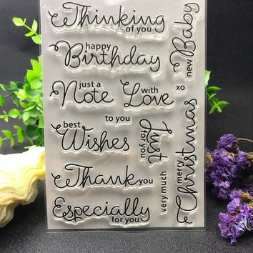 Commonly used words happy birthday Transparent Clear Silicone Stamp/Seal for DIY scrapbooking/photo album Decorative clear stamp