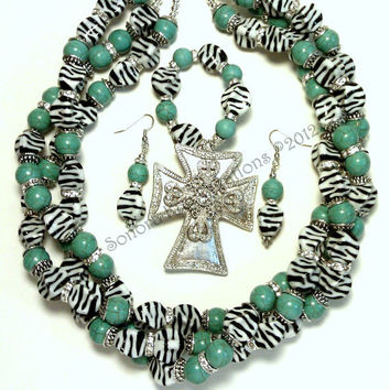 Zebra Stripes Mixed with Magnesite and Bling Necklace Set