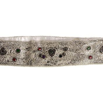 Vintage 1980s La Regale Beaded Womens Belt Silver & Clear Size M New Tags
