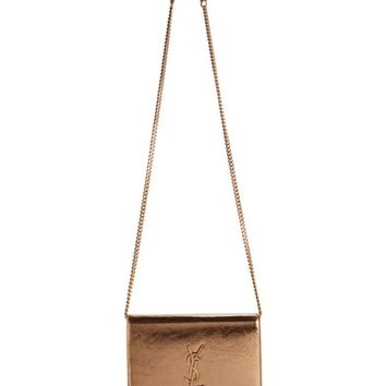 Saint Laurent Kate Metallic Leather Wallet on a Chain | Nordstrom