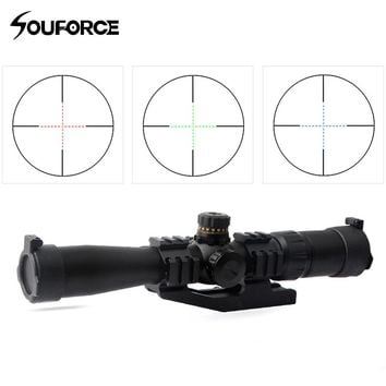 New Tactical 2-7X32BE Optical Rifle Scope Out-fit Red Green Blue Triple Illuminated Self-locking with Ring Accessory for Hunting