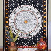 Indian Tapestry Zodiac Sign Wall Hanging Astrology Throw Cotton Single Bed Sheet