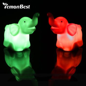 LED Night Light Cute Elephant Shape Light Multi-color Changing Lamp Bedroom Decoration