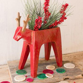Red Ceramic Deer Planter