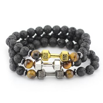 8mm Black Lava Stone Beads with Mix Color Alloy Metal Fitness Energy Dumbbell Charm Bracelets